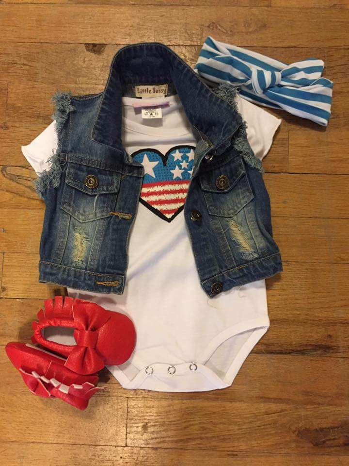 Denim Jacket and Tee with Red Shoes for Toddlers