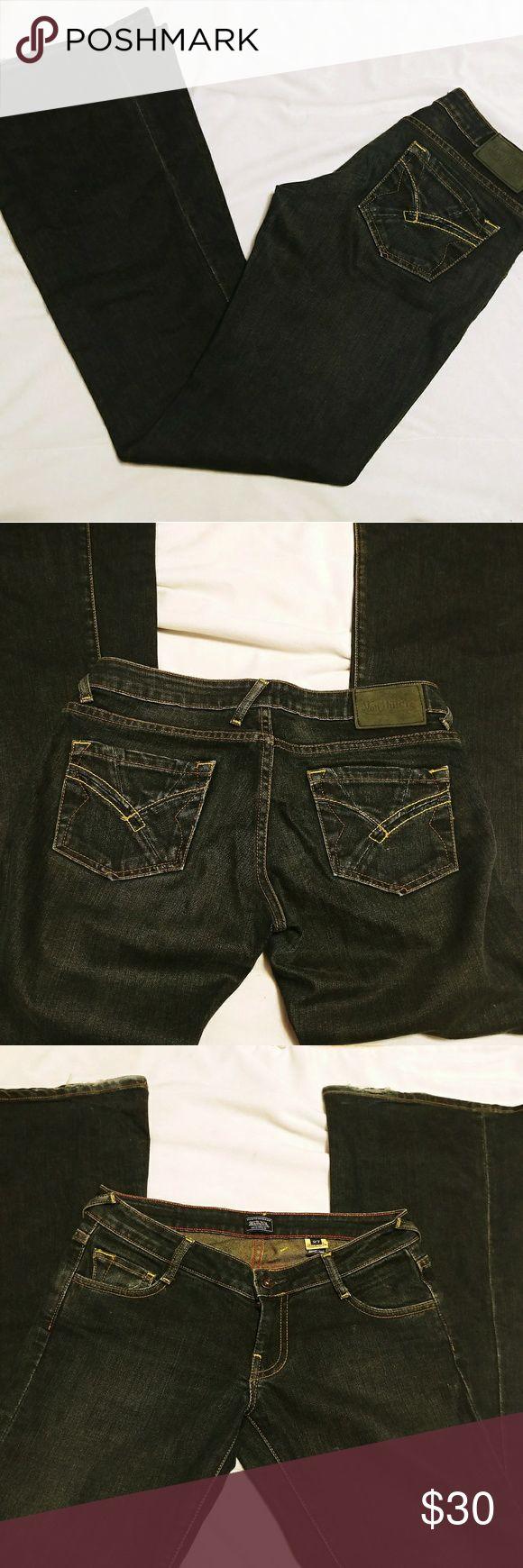 """Von Dutch Womens Jeans size 27 Dark Wash Low Rise Von Dutch Womens Jeans size 27 Dark Wash Low Rise Wide Flare 35"""" Inseam Tall   Inseam: 35"""" inch    Waist: 16"""" inch across   Hips: 18"""" inch across   Leg Opening:11"""" inch across   121217   Wash: Rusty Gears Von Dutch Jeans Flare & Wide Leg"""