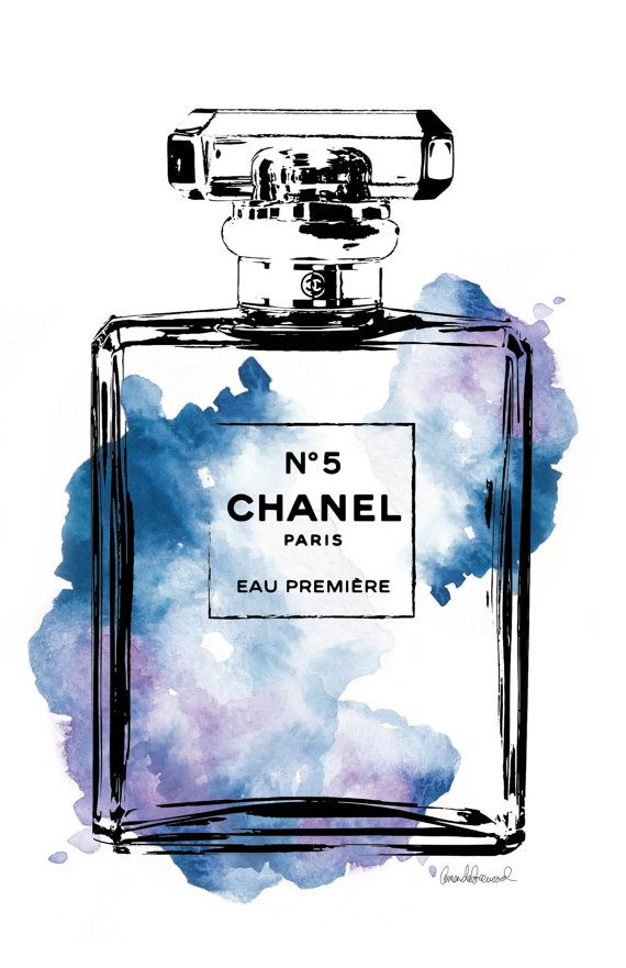 Chanel No.5 watercolor Blue PRINTABLE 11x17 by hellomrmoon on Etsy