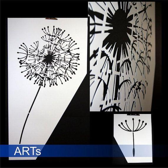 Stencil Dandelion 3066xsjablong for by artstickercouk on Etsy