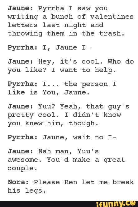 RWBY<< jaune is the kind of person who would really say that in this situation xD