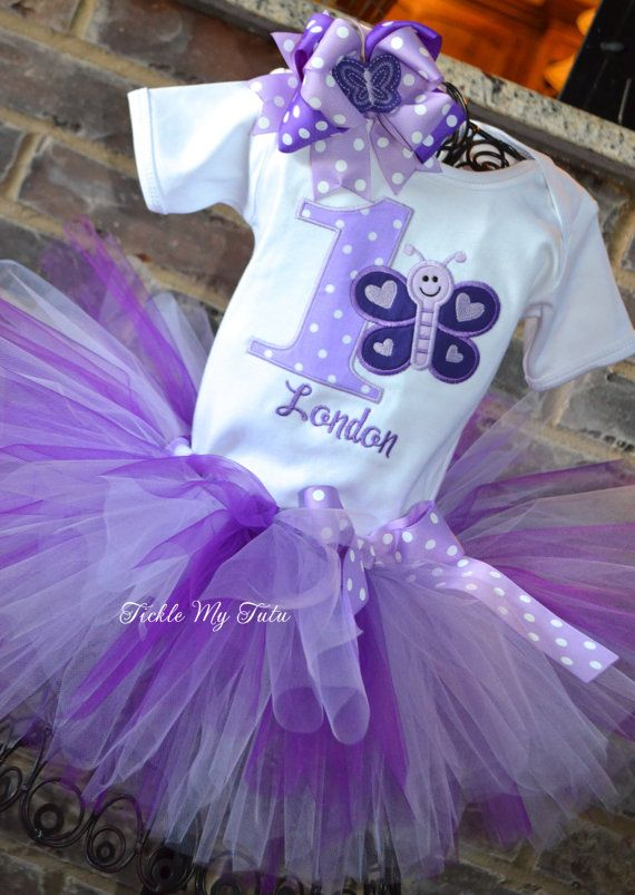 Purple and Lilac Butterfly Themed Birthday Tutu by TickleMyTutu