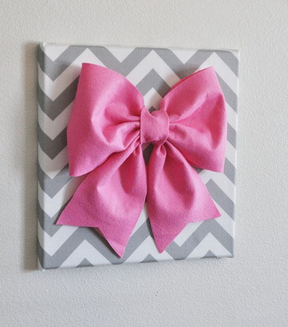 Large Pink Bow on Gray and White Chevron 12 x12 Canvas Wall Art- Zig Zag