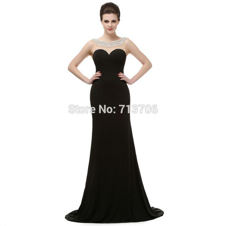 Vestidos de noche Real Images Black Mermaid Low Back Chiffon Beaded Sleeveless Long train galajurken sexy prom dresses 2017 long