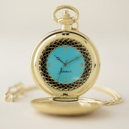 Chic Gold and Turquoise Personalized Pocket Watch - metallic style stylish great personalize