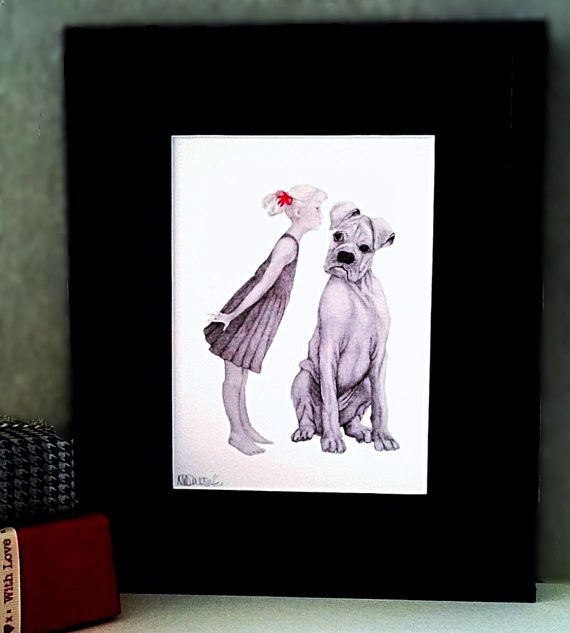 Dog Art Print, Unframed Mounted Bullmastiff Pencil Drawing, Red Bow Detail, Quill. I Am.co.uk. Quilled Bow, Playroom