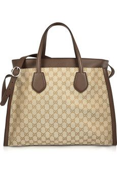 Gucci Ramble large leather-trimmed monogrammed canvas tote | NET-A-PORTER