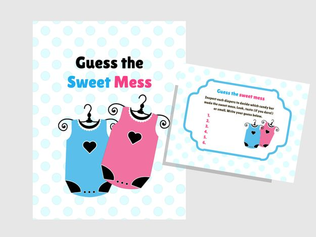 6_Twins Baby Sweet Mess Game, Name That Poo, Dirty Diaper Baby Shower,  Printable