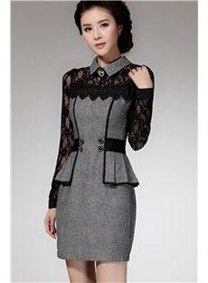 Düz Kazak Bahar Patchwork Düzenli Uzun Kollu Diz BODYCON Elbise Üstü