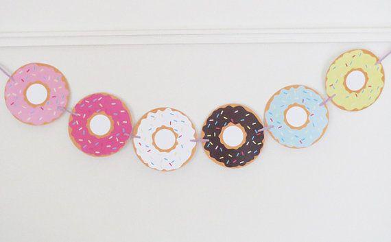 Donut Banner Donut Decorations Donut Decor Donut Printable Donut Garland Donut…
