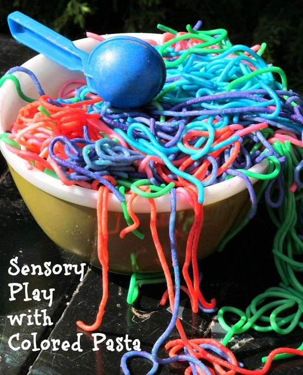 Sensory Play with Colored Pasta for Kids - Where Imagination Grows: Kids Projects, For Kids, Sensory Play, Imagination Grows, Kids Sensory Bins, Simple Sensory, Pasta Play