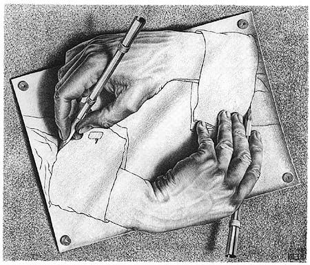 M.C. Escher - Drawing Hands. I love this guy and his work. Incredible mind, amazing talent.