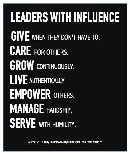 Leaders With Influencer via Lolly Daskal: