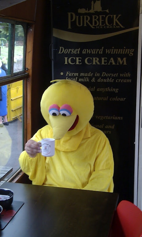 Big Bird drops in on the steam railway at Swanage
