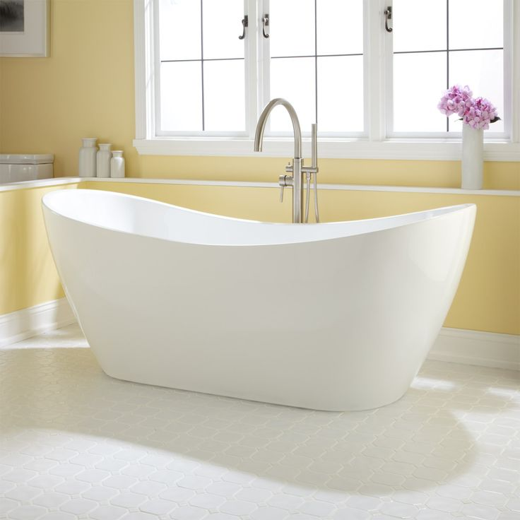 "72"" Sheba Acrylic Double-Slipper Tub. Shape and hardware. Definitely stand alone tub."