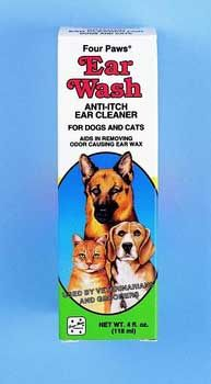 Dog Ear Wash Ear Cleaner 4oz, Four Paws - Helps relieve itching and keeps your pets ears clean  Also used by veterinarians and groomers to remove odor causing ear wax  Four paws ear wash cleaner effectively removes your dogs ear wax.  Ear wax can produce disgusting odors and if left untreated, extensive earwax buildup can eventually lead to ear infections in your dog.  This gentle, non irritating formula will get rid of ear wax and keep your dogs ears clean.