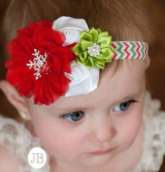 Christmas  baby Headband baby headbandsBaby by ThinkPinkBows