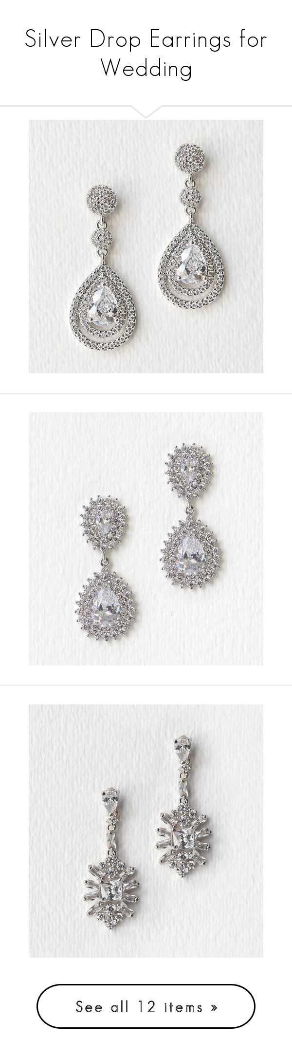 """""""Silver Drop Earrings for Wedding"""" by amyo-bridal ❤ liked on Polyvore featuring Silver, wedding, earrings, accessories, jewelry, bridal statement earrings, silver statement earrings, wedding jewelry, statement earrings and bride earrings"""