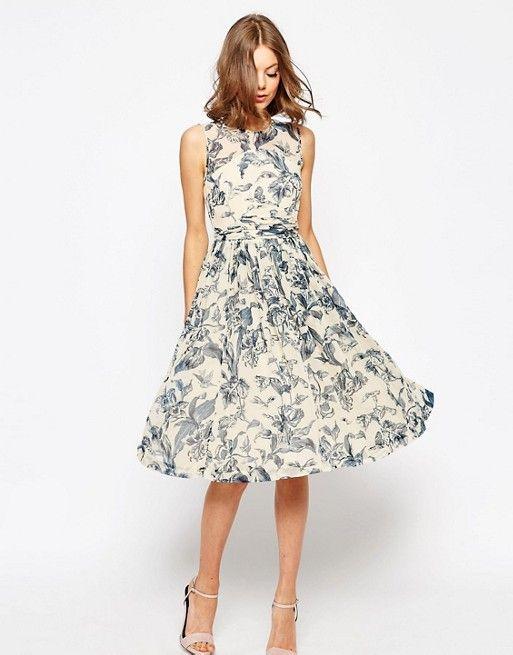 ASOS | ASOS WEDDING - Vestito midi con pannello arricciato e stampa