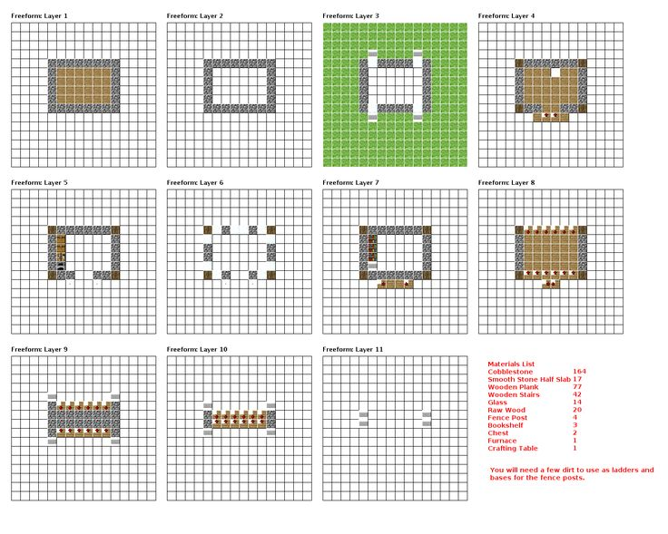 Minecraft House Blueprints Layer By Layer 07 Minecraft Blueprints Pinterest Minecraft - Blueprints For Houses