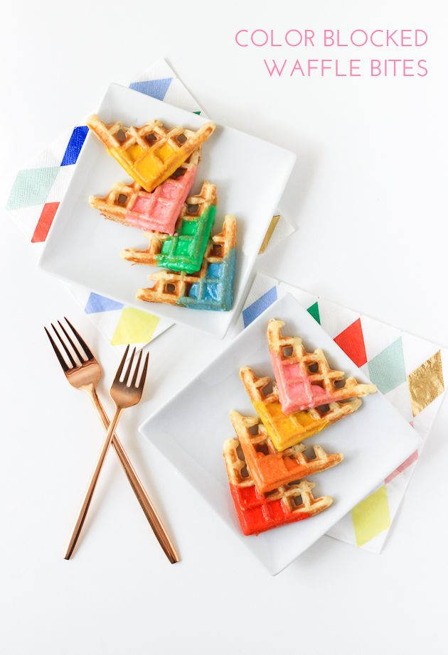 Color Blocked Waffle Bites (The Crafted Life)