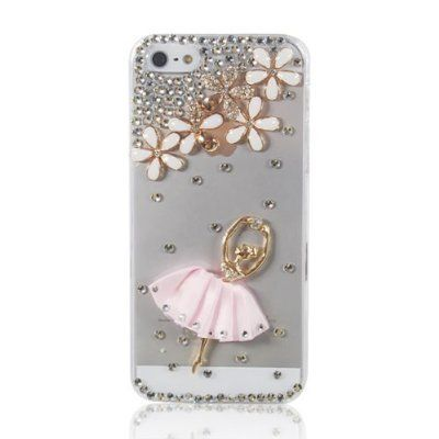 Bling Clear Handmade 3D Flower & Pink Skirt Girl Crystal Diamond Rhinestone Skin Case Cover For iPhone 5 5g:Amazon:Cell Phones & Accessories