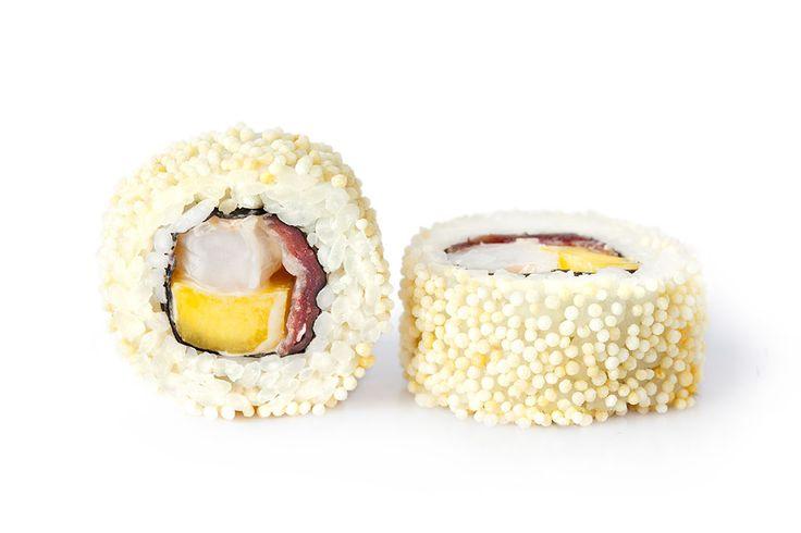 EXOTIC (8ud) Langostino, mango, kanikama, jamón ibérico, salsa thai, cubierto de arroz inflado