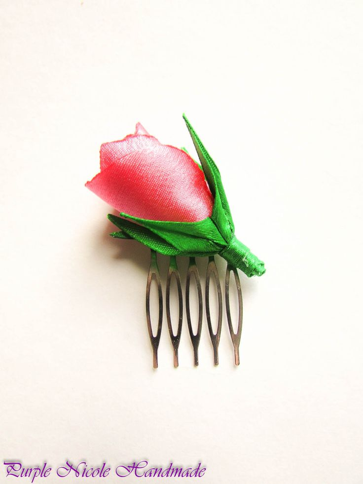 Pinkish Rose - Handmade Decorative Hair Comb by Purple Nicole (Nicole Cea Mov). Materials: green satin leaves and stem, pink and red satin rose, all handmade.