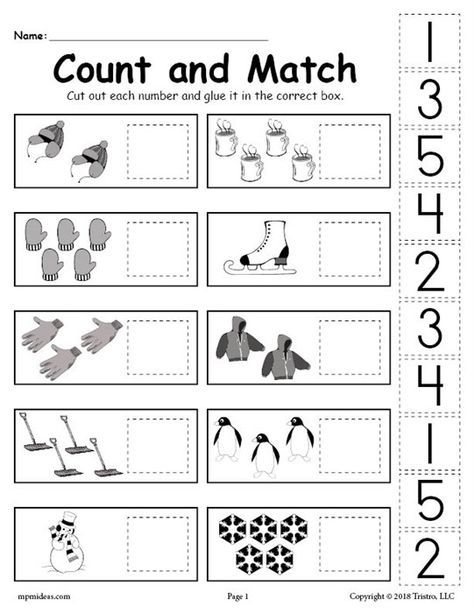free printable winter counting and matching cut and paste worksheet learning cut paste. Black Bedroom Furniture Sets. Home Design Ideas