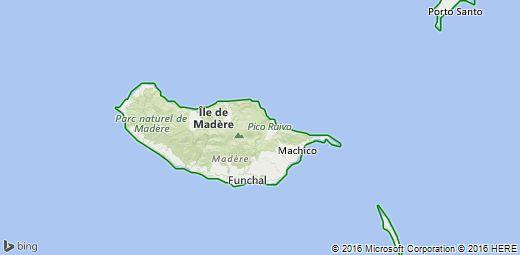 Carte de Île de Madère, Portugal