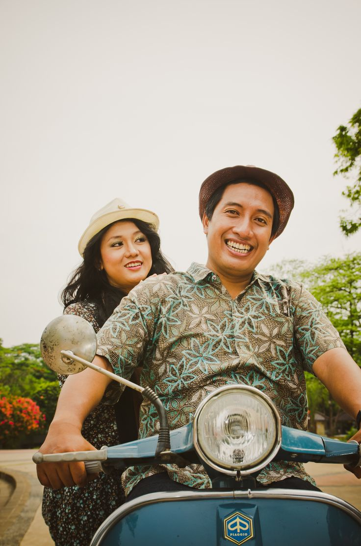 Vespa is nothing but everything.  Angga & Tiwu. Makeup and Hair Do by Kareema. #Vespa #Happy #Couple #Nikon #Fisheye #Love #Retro #Smile #PreWedding #FineArt #Photography #Piaggio #Italy