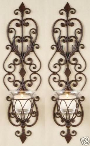 scroll candle sconces decorative tuscan designed candle wall sconce ...