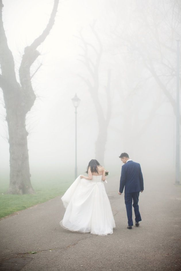 Magical, misty wedding shoot in London (photo by Caro Hutchings Photography)