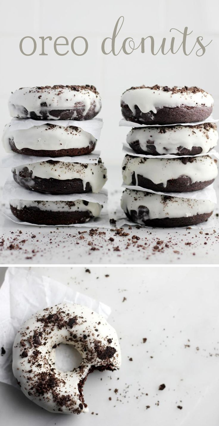 Talk about the best dessert mash-up imaginable. These chocolate donuts are moist and flavorful and the batter is filled with Oreos! The bright white icing is a nod to the vanilla cream filling and the donuts are sprinkled with — you guessed it — more Oreos! Because they're baked instead of fried, these are an easy treat that can be whipped up on a moment's notice with no fuss or mess. #Oreos