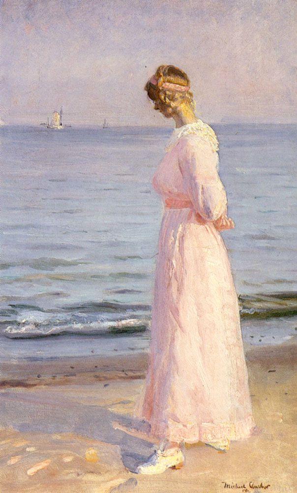 "Michael Peter Ancher (Danish artist, 1849-1927) - ""Vid Skagens strand"" (At the beach, Skagen), 1914"