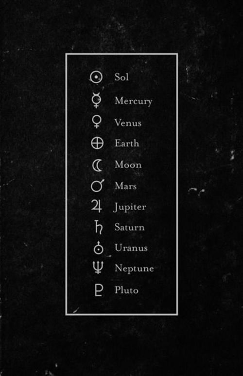 Symbols for the sun and planets.