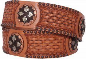 Mens - Hand-Tooled - Double J Saddlery Belt - B733 - Natural Leather Tooled Belt