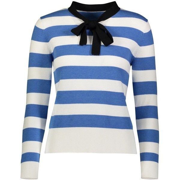 YAL NEW YORK Striped sweater found on Polyvore featuring tops, sweaters, blue, white top, striped top, white striped top, stripe sweaters and stripe top
