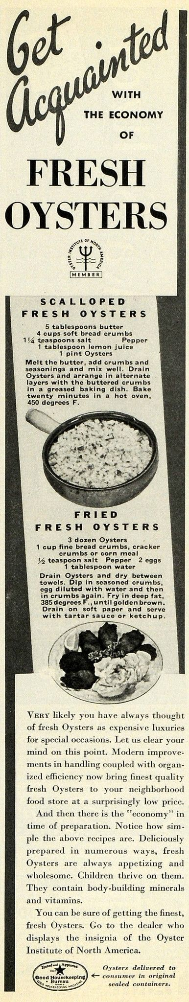 This is a small original 1936 black and white print ad for the Oyster Institute of North America, featuring a recipe for Scalloped Fresh Oysters and Fried Fresh Oysters. CONDITION This 75+ year old It