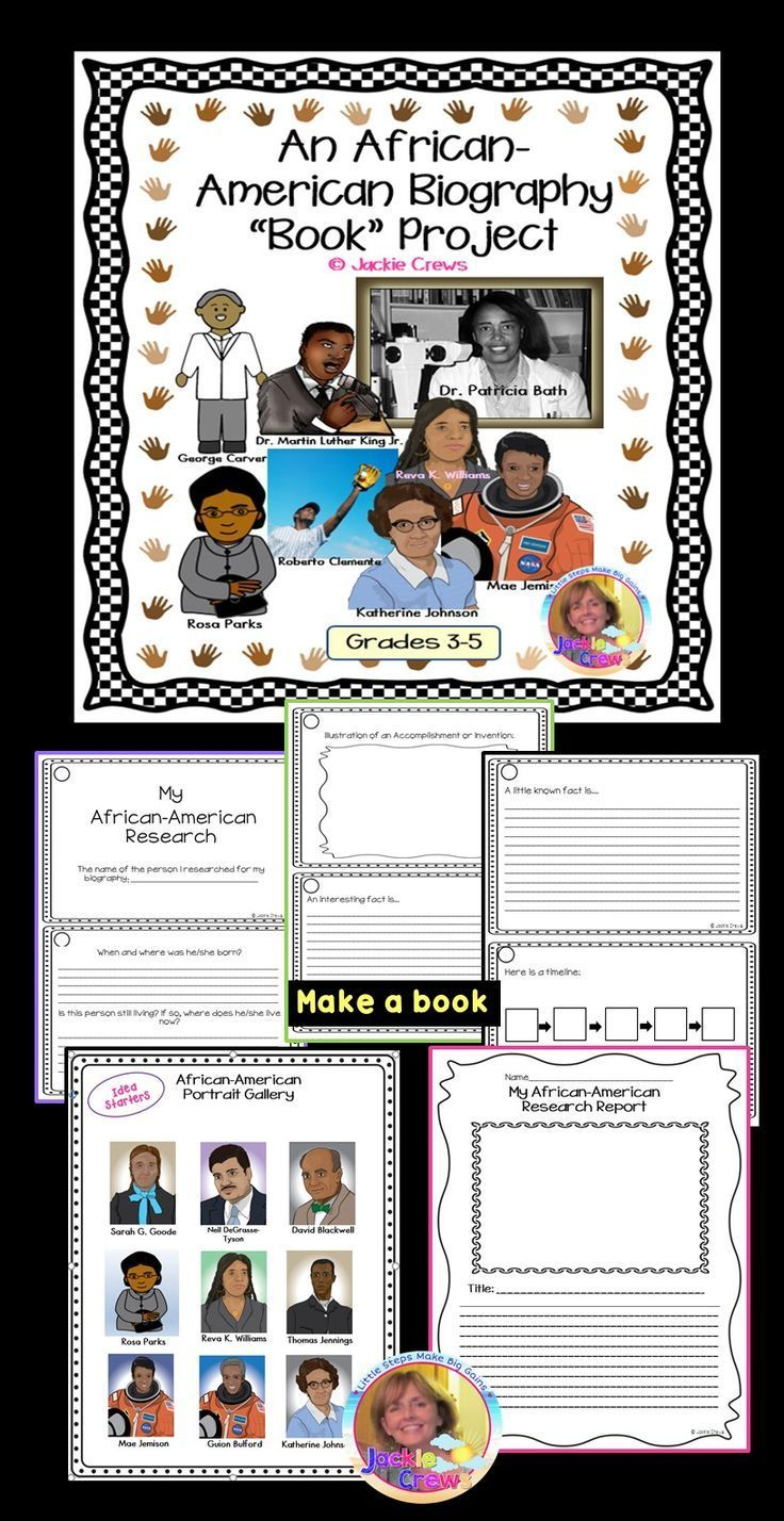 """Great research tool that has 20 card templates for writing an African-American research report. They can be used as organizer templates or as the published """"book"""" itself. (I included two choices of final copy writing paper for those teachers who prefer a report format or for writing portfolios). Newly added is a picture gallery for students to choose a person to research."""
