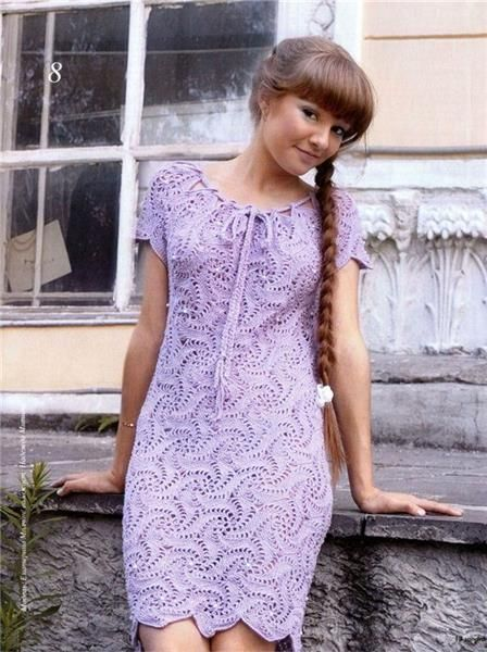 Сиреневое платье вязанное