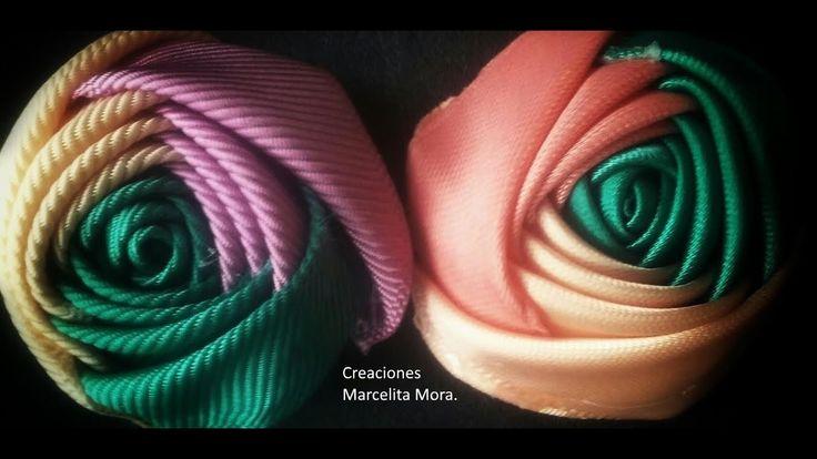 How Make a Rose Flower with Ribbon / Flor Torbellino Paso a Paso / Segun...