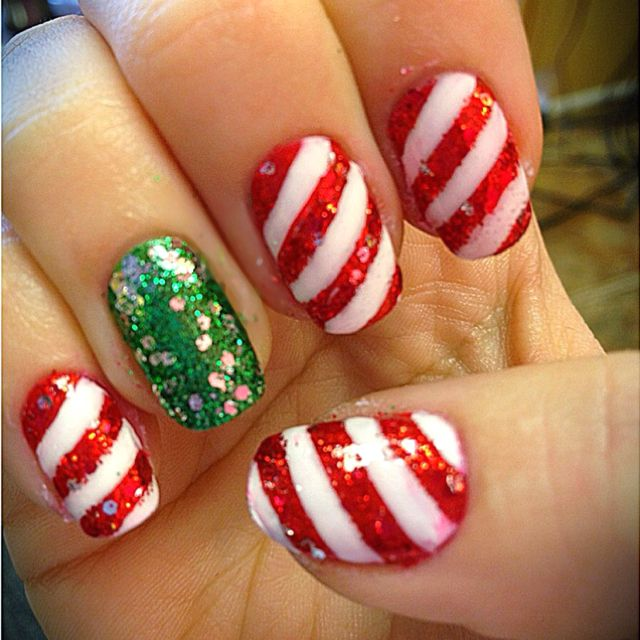candy cane nails ideas