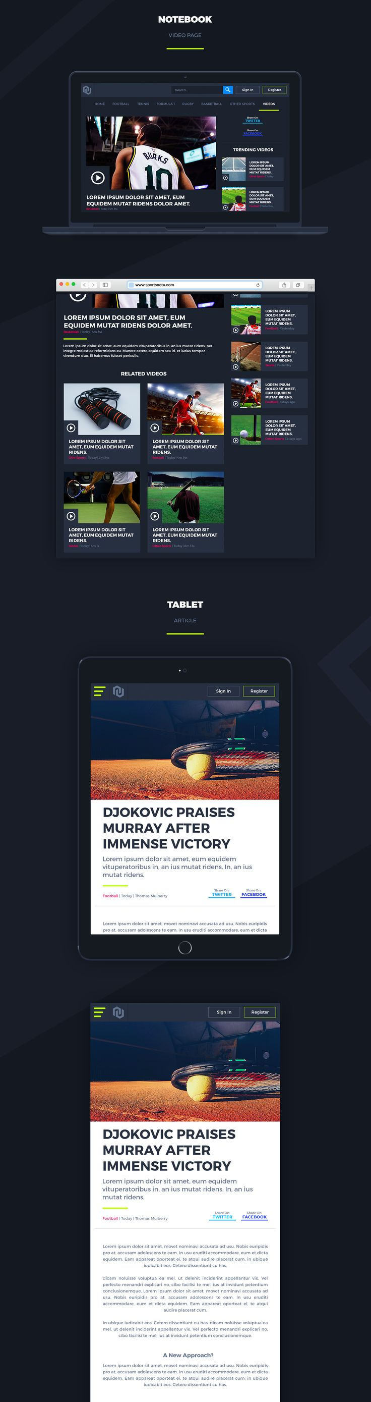Sports Note is a fresh take on the standard sports news website. This 24-screen template contains designs for desktop (1400px), notebook (1056px), tablet (716px) and mobile (640px). We've used a simple grid system so that content blocks are easily interch…