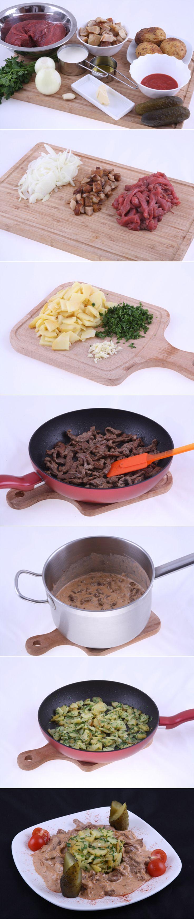 Бефстроганов из говяжьей вырезки с белыми грибами. Приготовление классического бефстроганова не вызывает сложностей, но результат всегда потрясающий. А наше блюдо станет еще вкуснее с грибами всего за 30 минут!  Полный список ингредиентов и способ приготовления блюда вы можете увидеть в...http://vk.com/dinnerday; http://instagram.com/dinnerday #dinnerday #рецепт #бефстроганов #говядина #кулинария #еда #food #cook #recipe #мясо #meat #beef