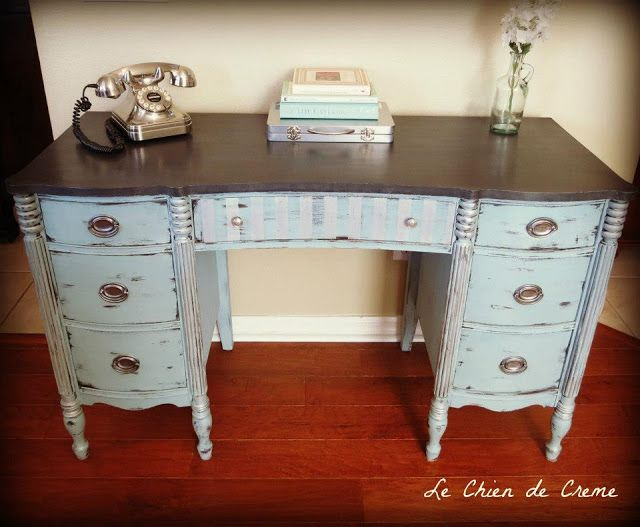 Glam Desk Makeover By Le Chien de Creme - Featured on Furniture Flippin'