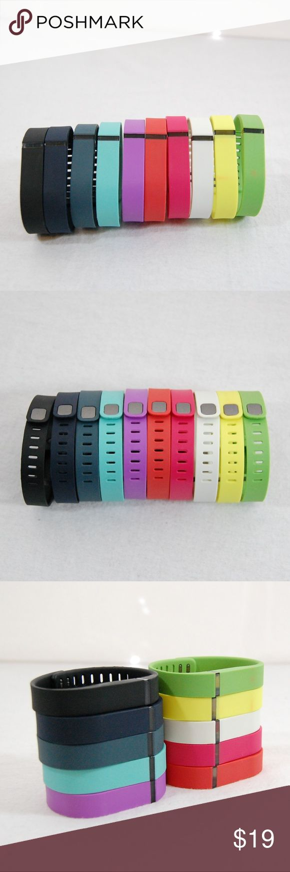 🆕 NWOT: Set of FitBit Flex Bracelets / Holders Set includes all 10 bands shown.  Each band can be worn alone as a bracelet (or you can insert a FitBit Flex).  Size Large (see size chart pic).  NWOT - never taken out of the box until I took photos for this listing. Upon doing so, I noticed there are faint color marks on two of the bands - the green and the yellow (see last pic). Very hard to see & I haven't tried to remove, but wanted to disclose!  Antibacterial Material, soft, waterproof…