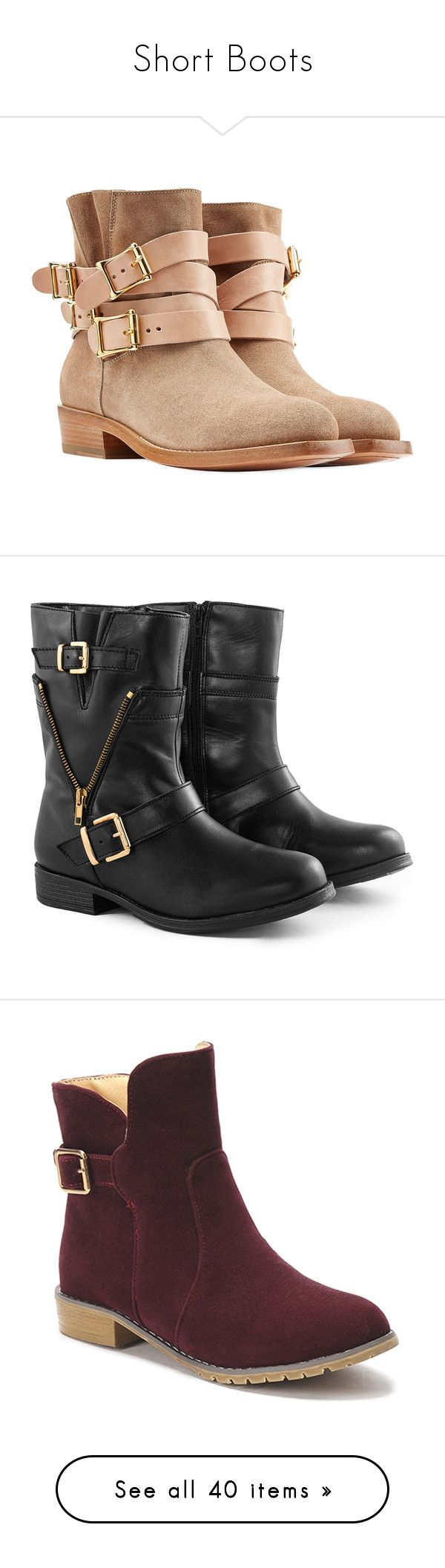 """""""Short Boots"""" by leesakate ❤ liked on Polyvore featuring shoes, boots, ankle booties, heels, sapatos, botas, black booties, lace up platform booties, suede lace-up booties and black heeled booties"""