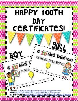 FREEBIE! 100 Days SMARTER Student Certificates/Awards