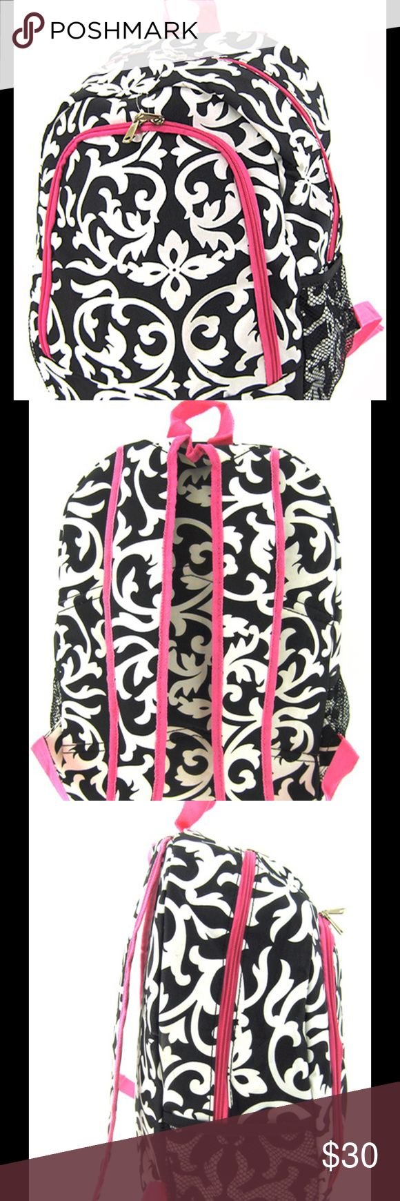 "Damask 16"" Backpack School Dance Diaper Bag Pink This bag is brand new and not used. Check out our closet to see all of our beautiful bags!  Sorry, No Trades.  Size : 12w x 16h x 6d in.  Material : Canvas   * Zipper Closure  * Large Zipper Pocket on Front  * Plenty of Various Sized Pockets Inside  * Two Compartments w/ Front Pocket  * Two Mesh Pockets on Each Side  * Adjustable Shoulder Straps  * Backpack great for School, Diaper Bag, Travel, Gym, Cheer, Gymnastics, Sports Scarlettsbags Bags…"